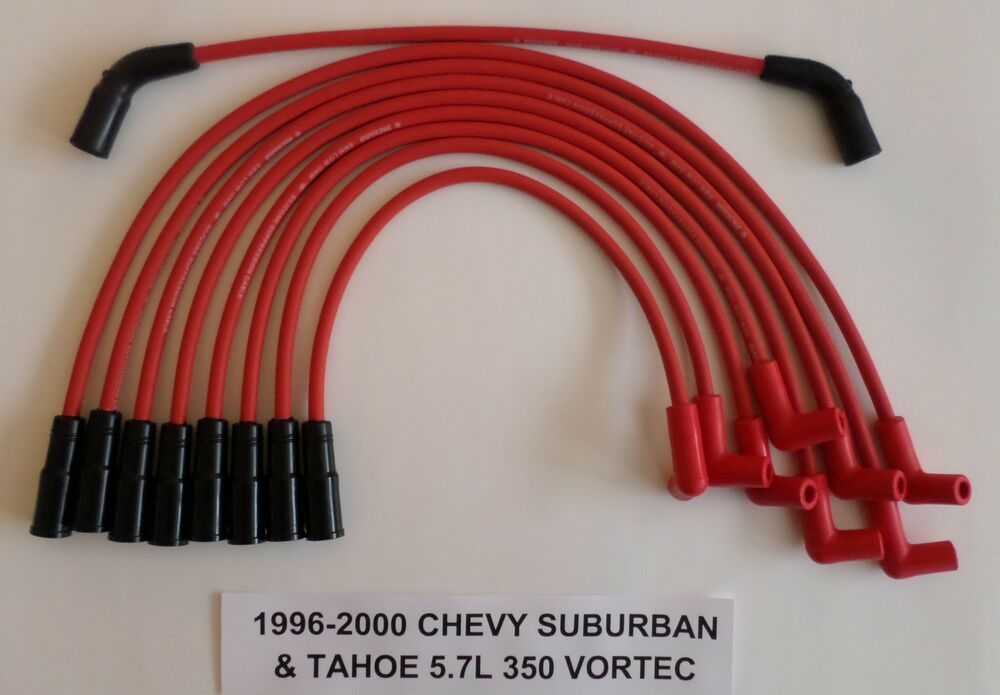 red spark plug wires vortec l chevy red spark plug wires vortec 5 7l 350 1996 1997 1998 99 2000 chevy tahoe suburban