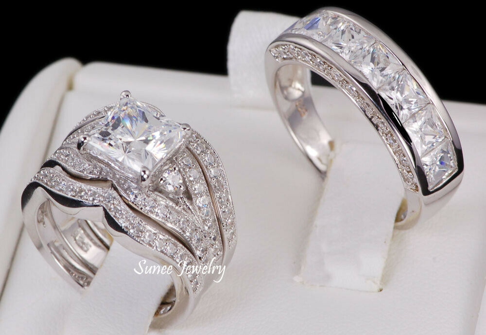 His & Hers 14k White Gold 925 Sterling Silver Wedding Band