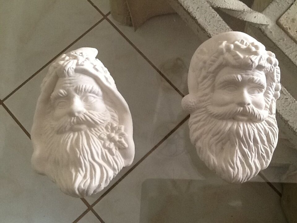 Ceramic bisque christmas ornament 2 santa heads u paint for Plaster crafts to paint