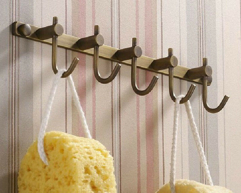 Wall mounted bathroom antique brass 5 hooks hats robe for Cloth hooks wall mount