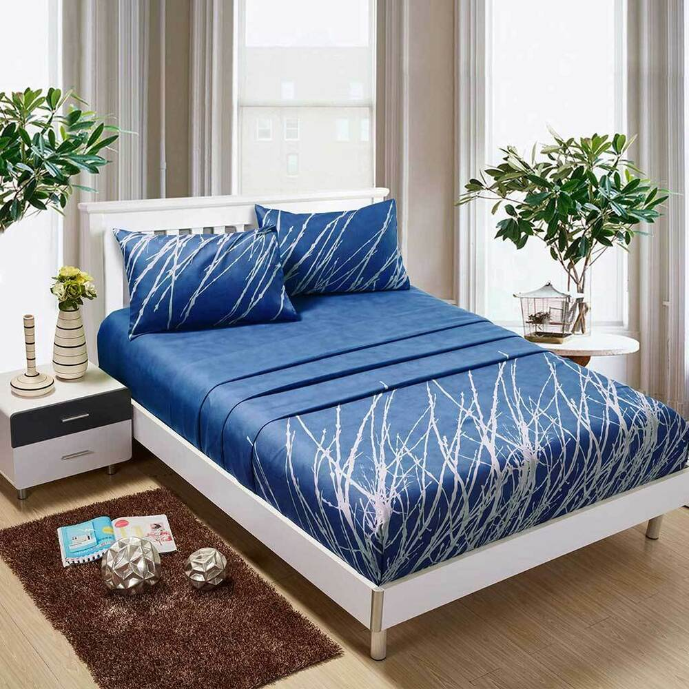 blue tree sheet set queen king super king size bed flat fitted pillowcases new ebay. Black Bedroom Furniture Sets. Home Design Ideas