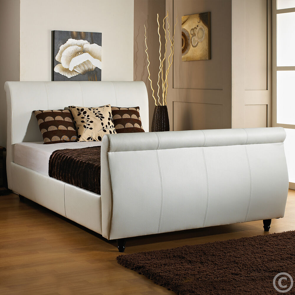 new faux leather 6ft super king size sleigh bed memory or orthopedic mattress ebay. Black Bedroom Furniture Sets. Home Design Ideas