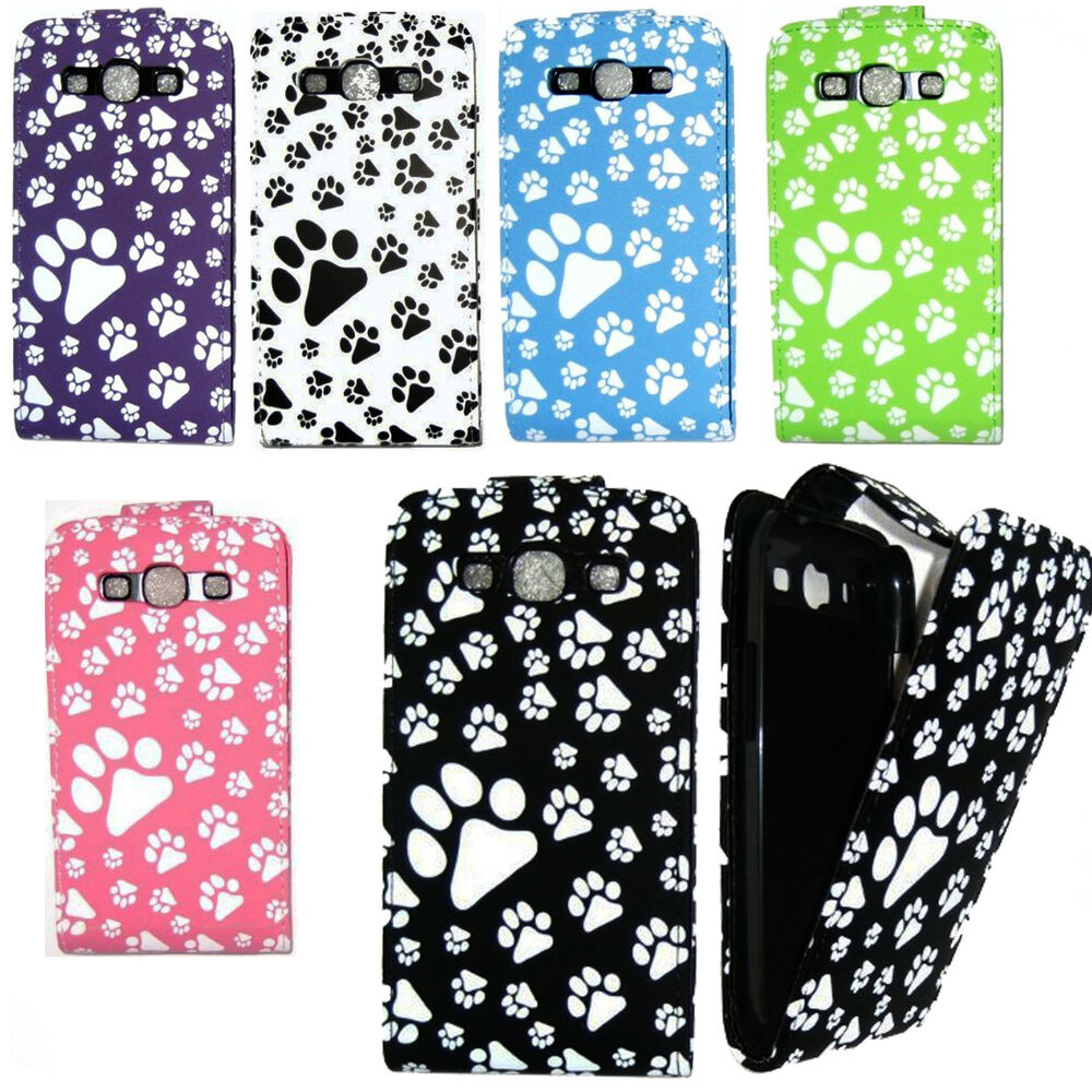 Case Design luxury leather mobile phone cases : ANIMAL DOG CAT PAW FOOT PRINT LEATHER FLIP CASE COVER FOR VARIOUS ...