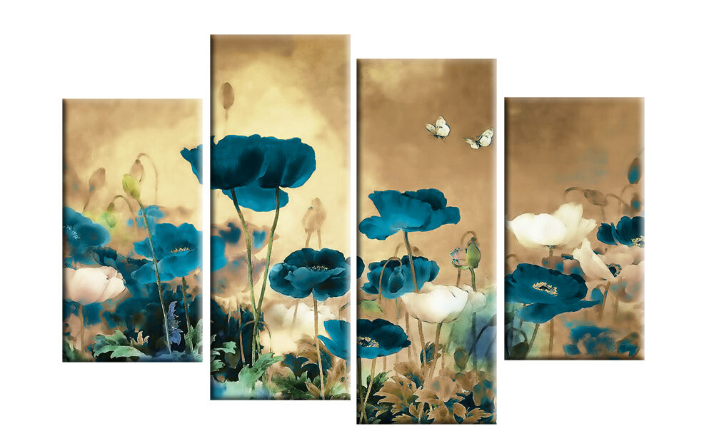 Teal Beige Canvas Art Chinese Floral Flower Split Multi 4