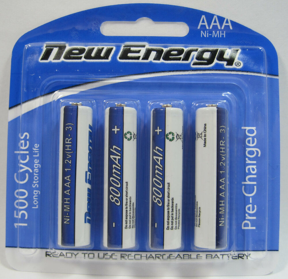 4 aaa rechargeable batteries nimh 800mah 1 2v 1500 cycles new energy ebay. Black Bedroom Furniture Sets. Home Design Ideas