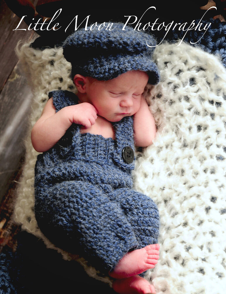 Newborn Baby Crochet Navy Blue Suspenders And Hat Set