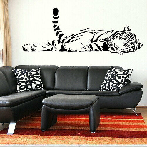 bedroom wall stickers wide 150cm removable sleeping tiger vinyl wall paper decal 10749