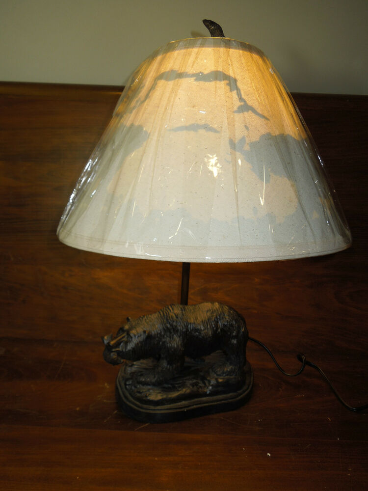 Bear Table Lamp with a Fish and Matching Lampshade Log ...