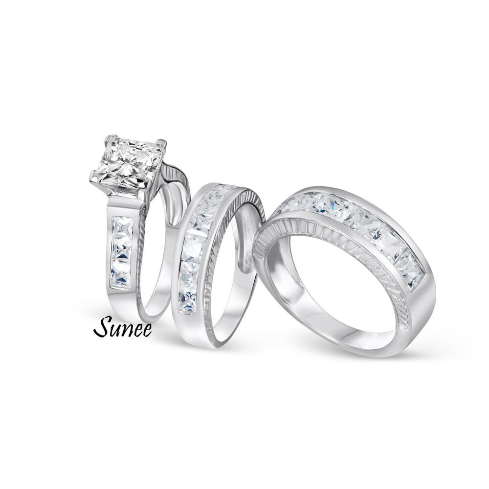 wedding ring sets for her his amp 3pcs engagement wedding ring bridal set sterling 9991