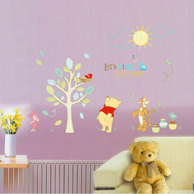 winnie the pooh tiger tree wall stickers vinyl decal kids nursery decor disney ebay. Black Bedroom Furniture Sets. Home Design Ideas