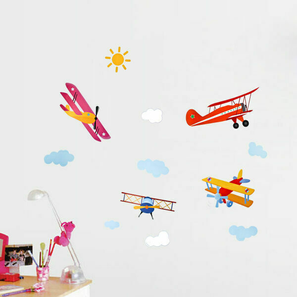 Airplane Sun Cloud Removable Kids Nursery Wall Decal Vinyl