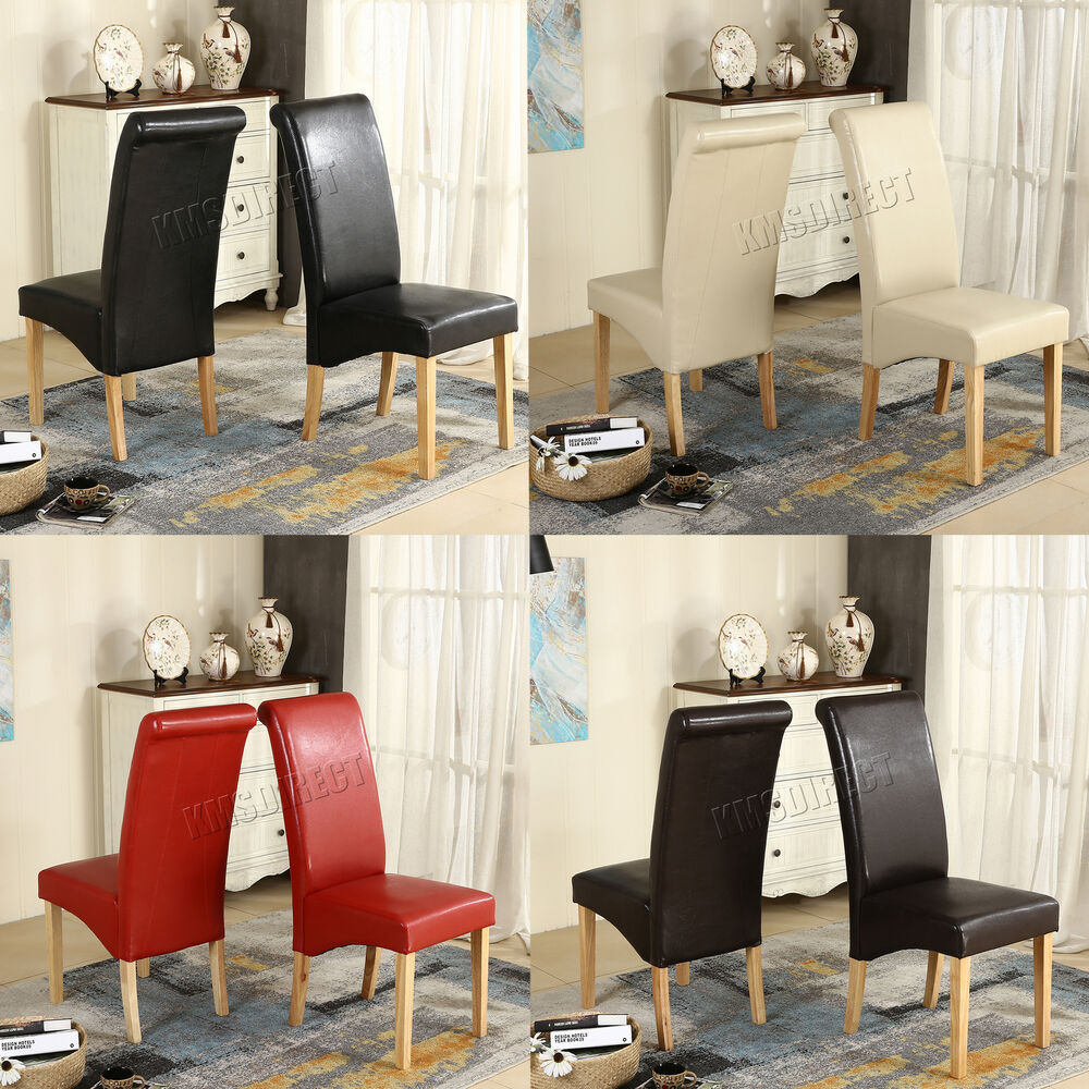 Faux leather dining chairs roll top scroll high back wood for High back leather dining room chairs