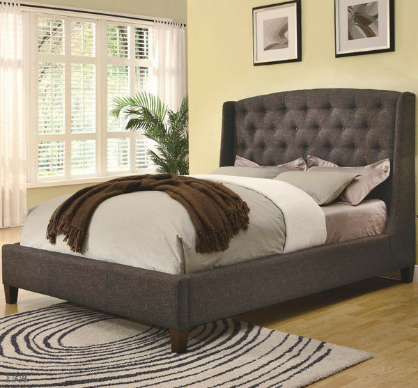 new melrose contemporary low profile upholstered tufted winged queen king bed ebay. Black Bedroom Furniture Sets. Home Design Ideas