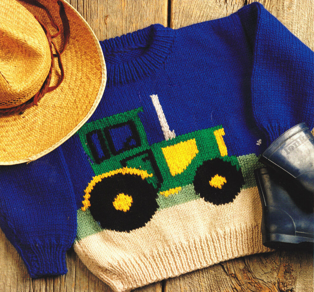Knitting Pattern With Tractor Motif : Tractor Farm Sweater Baby Children Knitting Pattern Aran Wool 22
