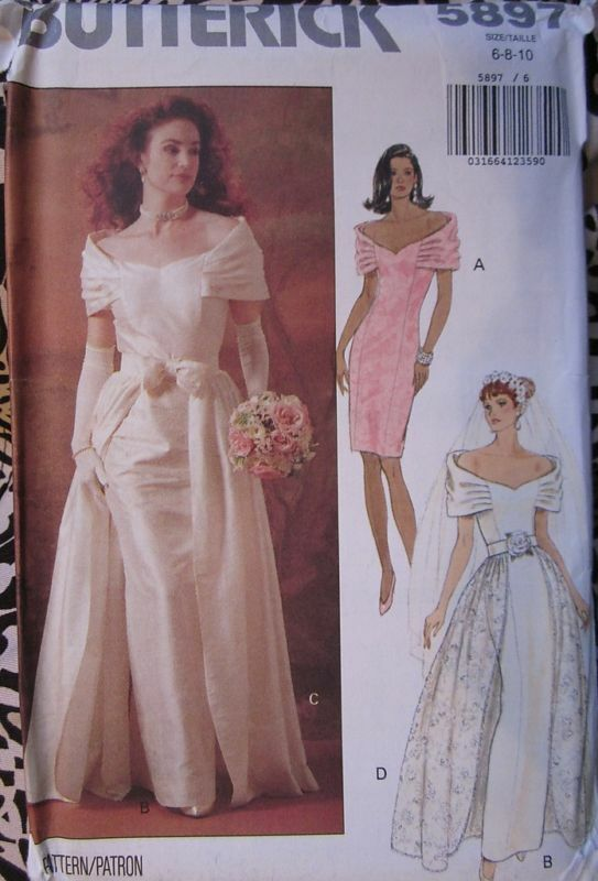 5897 vintage butterick sewing pattern elegant bridal for Butterick wedding dress patterns