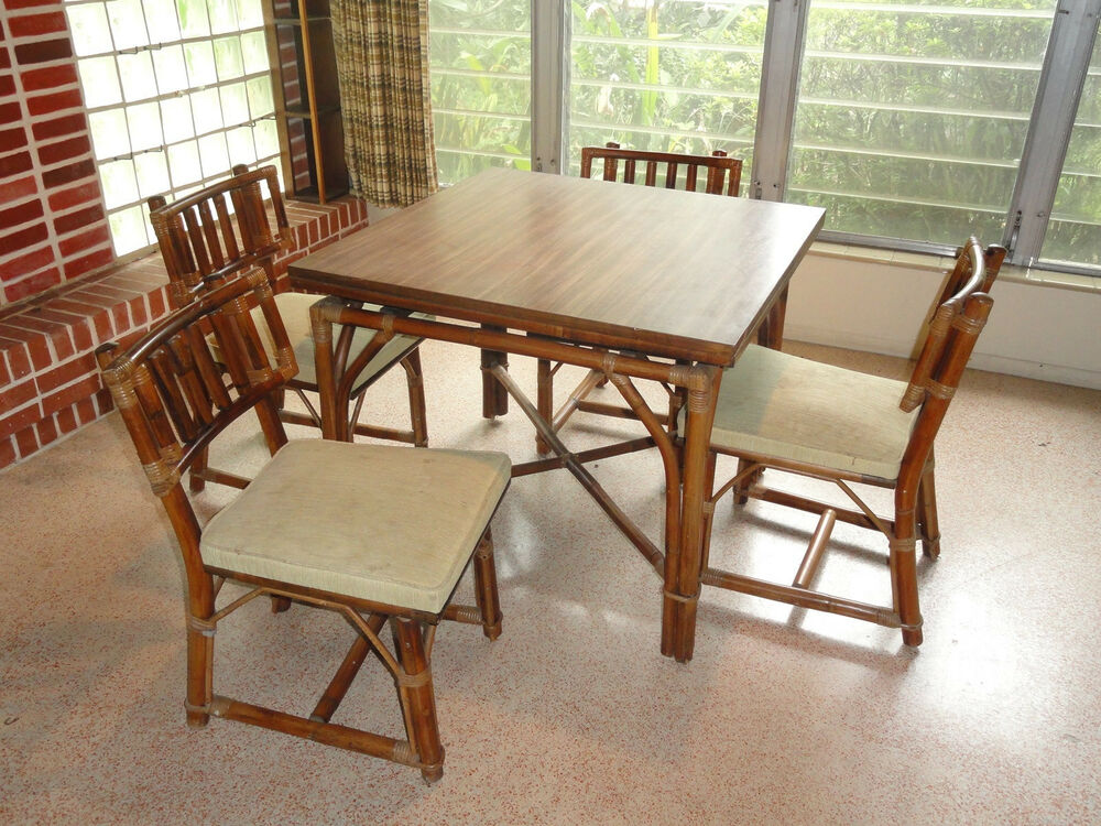 Rare 60 39 s ficks reed rattan dining table chairs sliding for Dining lounge rattan
