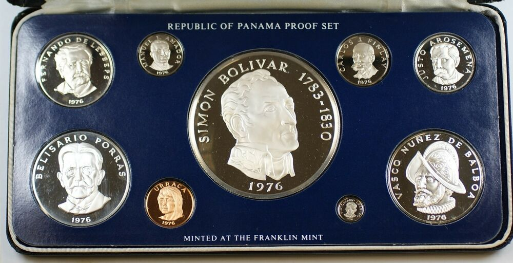 1976 Panama Coinage Proof Set 3 Silver Coins In
