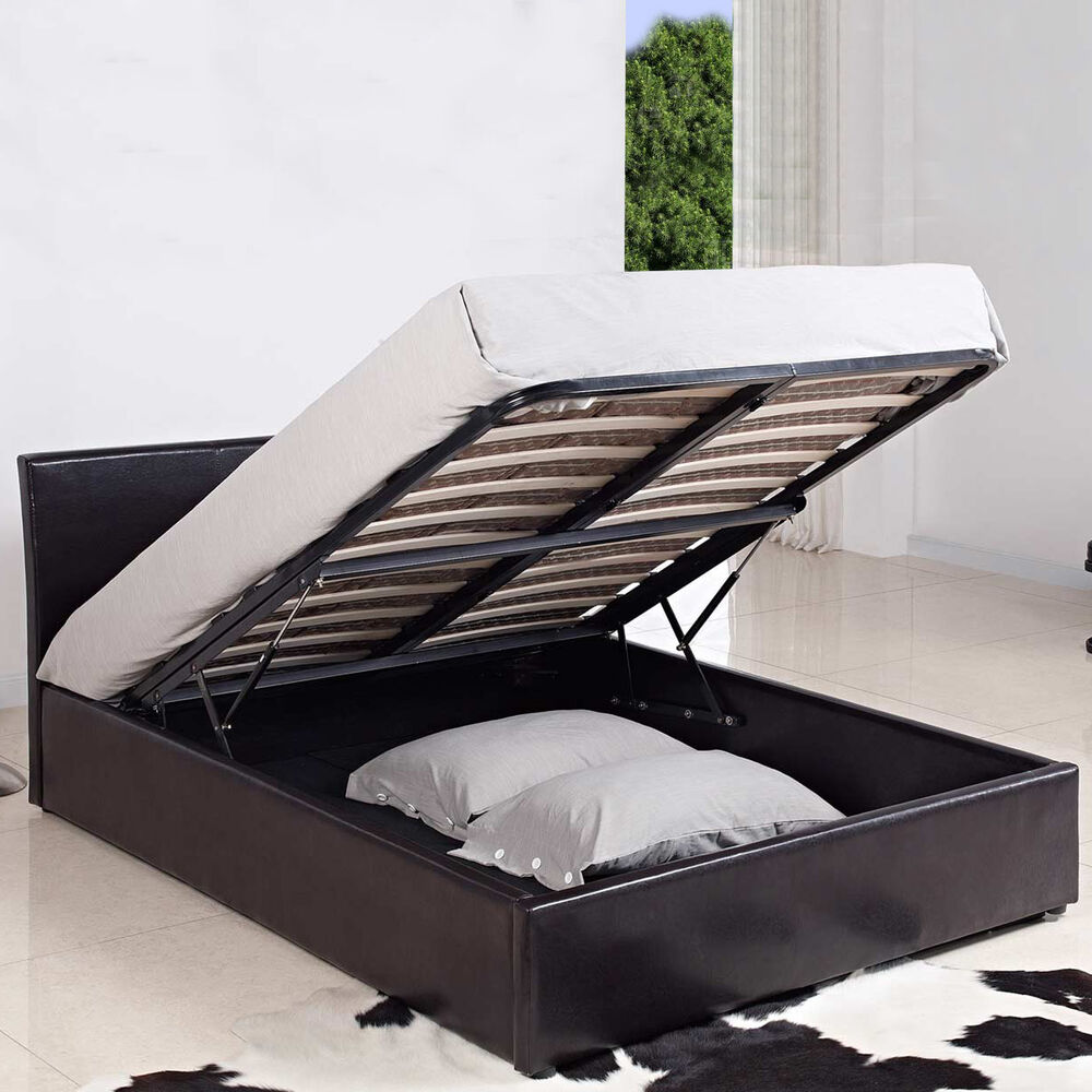 new 5ft king size ottoman gas lift storage bed in black or. Black Bedroom Furniture Sets. Home Design Ideas