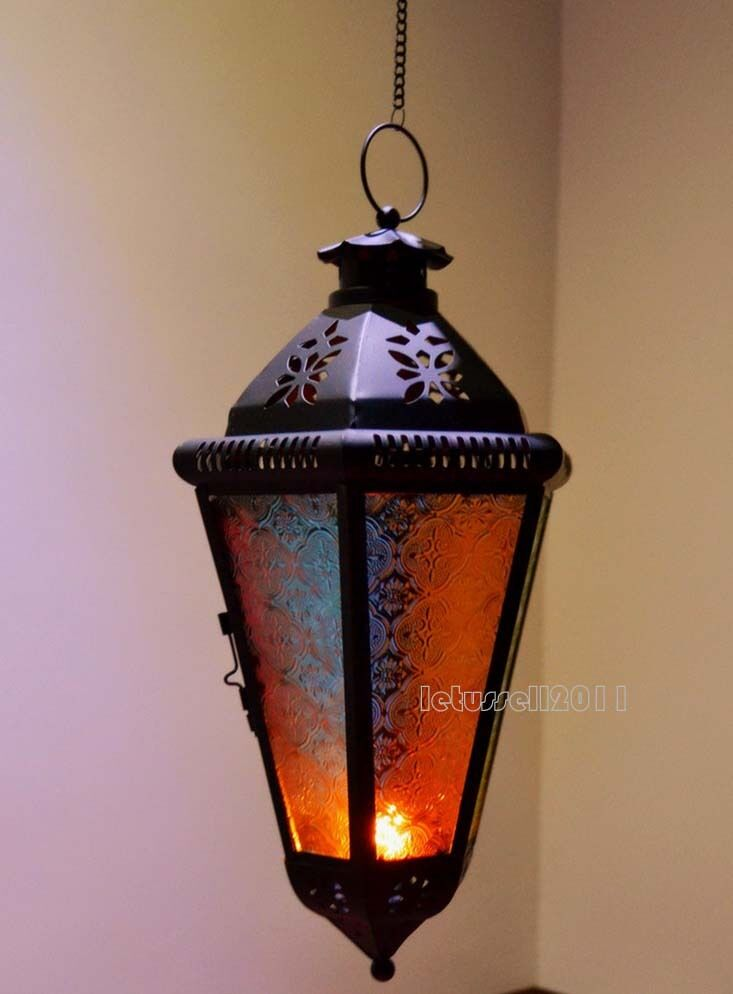 Hanging moroccan lantern metal tealight candle holder lamp for Wire candle lantern