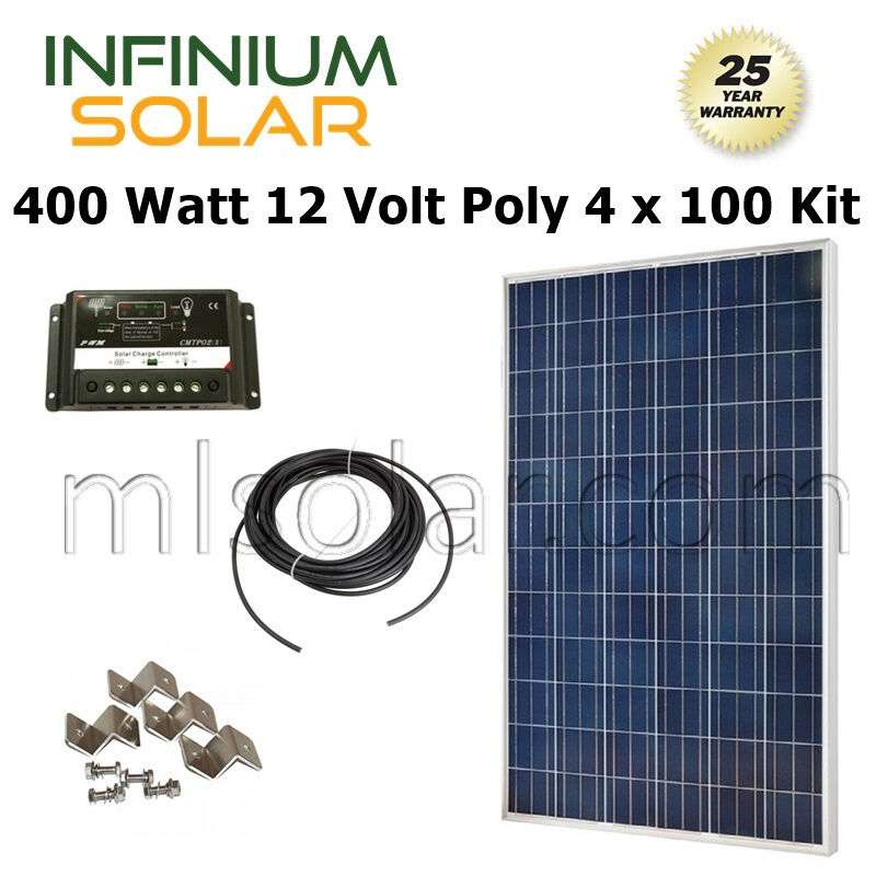 400w Watt Solar Kit 4x 100w Pv Solar Panel 12v 24v