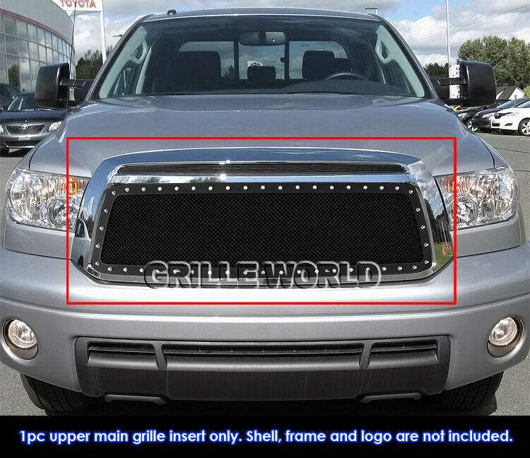 Fits 2010 2013 Toyota Tundra Stainless Black Mesh Grille