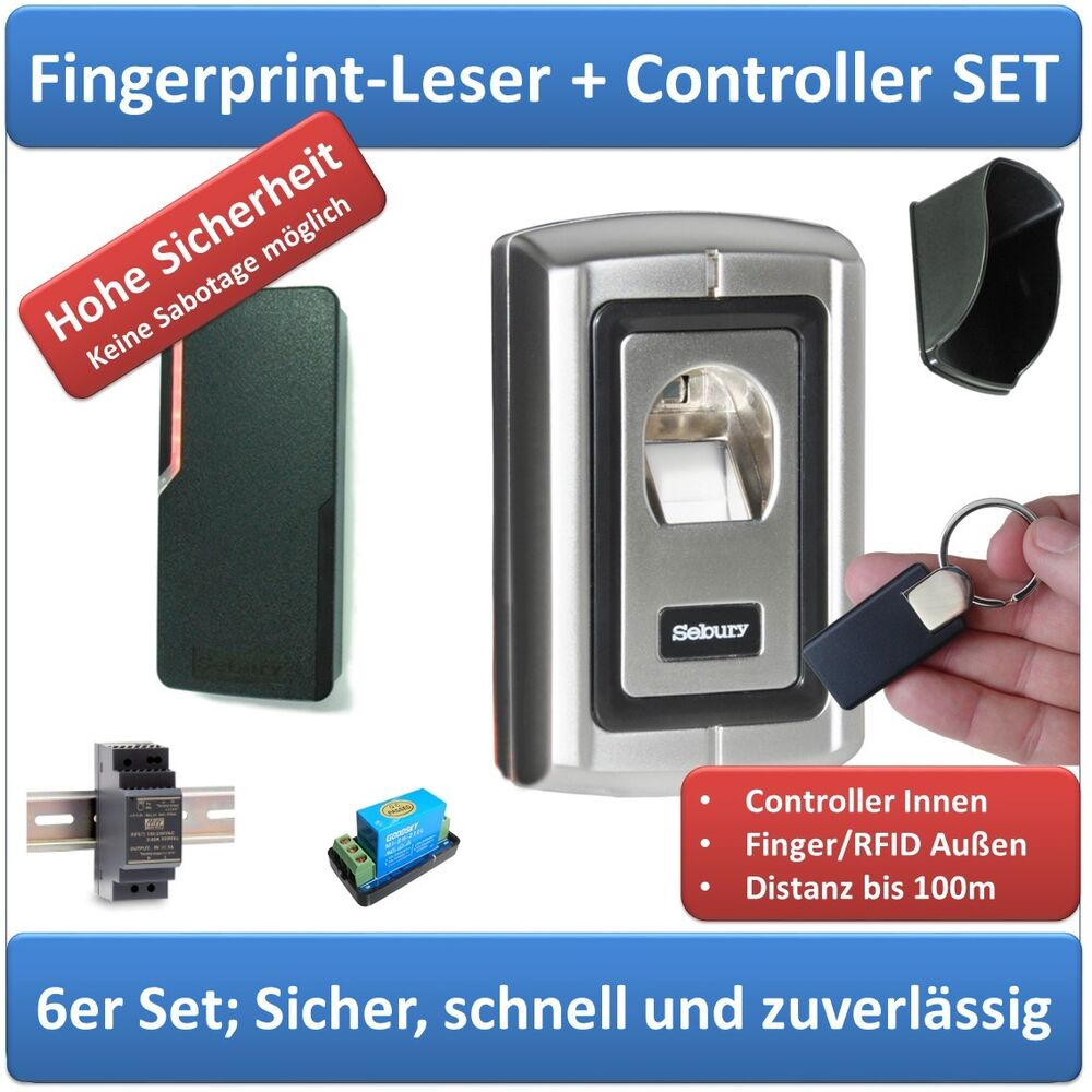 zutrittskontrolle komplettset fingerprint rfid netzteil. Black Bedroom Furniture Sets. Home Design Ideas