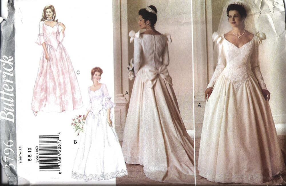 Uncut butterick sewing pattern misses wedding dress bridal for Butterick wedding dress patterns
