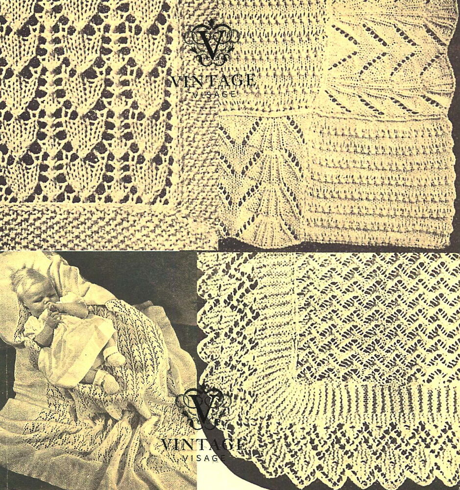 Knitting Pattern Tracker : Vintage Visage knitting pattern-Make 3 lace baby heirloom christening shawls ...