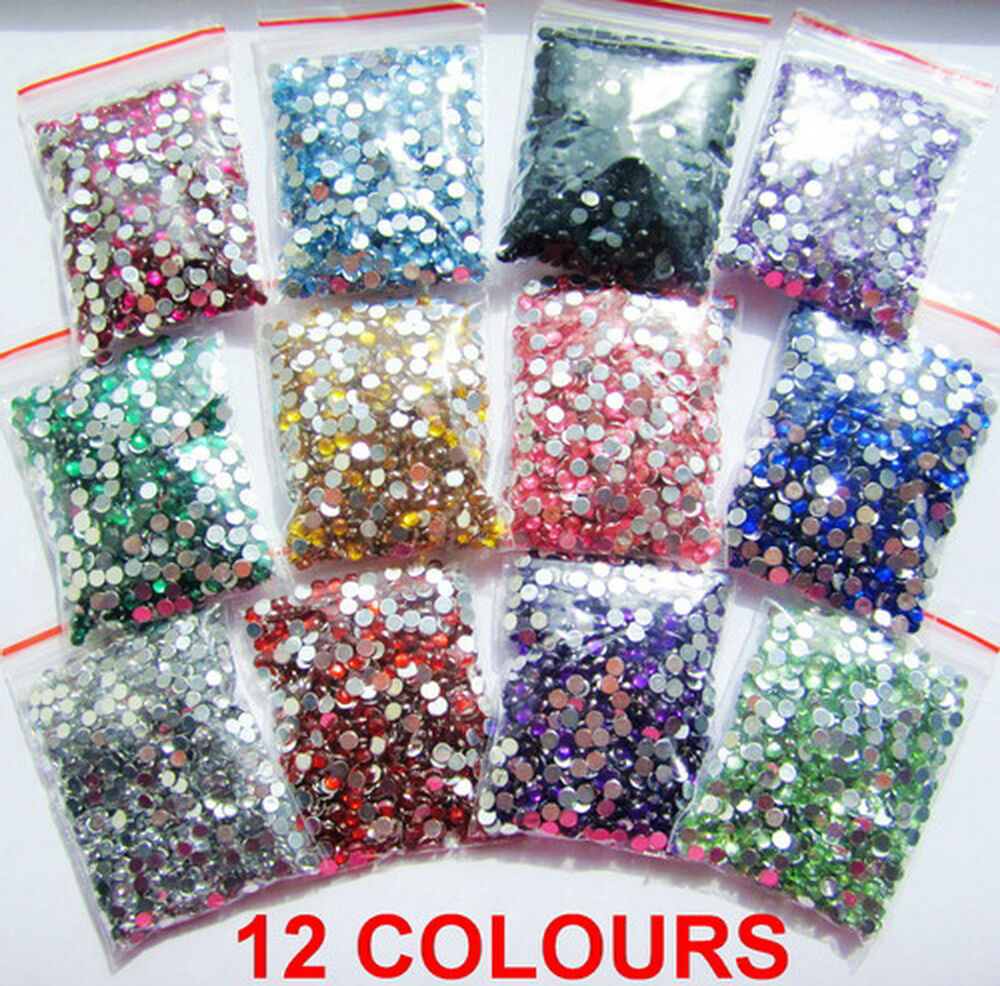 12 colours 1000pcs crystal flat back acrylic rhinestones for Rhinestone jewels for crafts