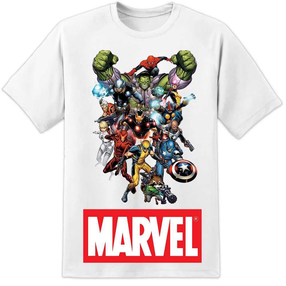 marvel comics t shirt iron man spiderman thor wolverine. Black Bedroom Furniture Sets. Home Design Ideas