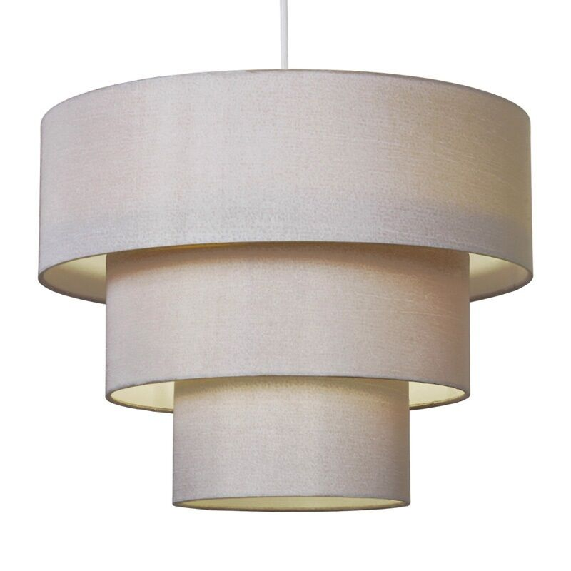 Modern Champagne Gold Faux Silk 3 Tier Ceiling Pendant