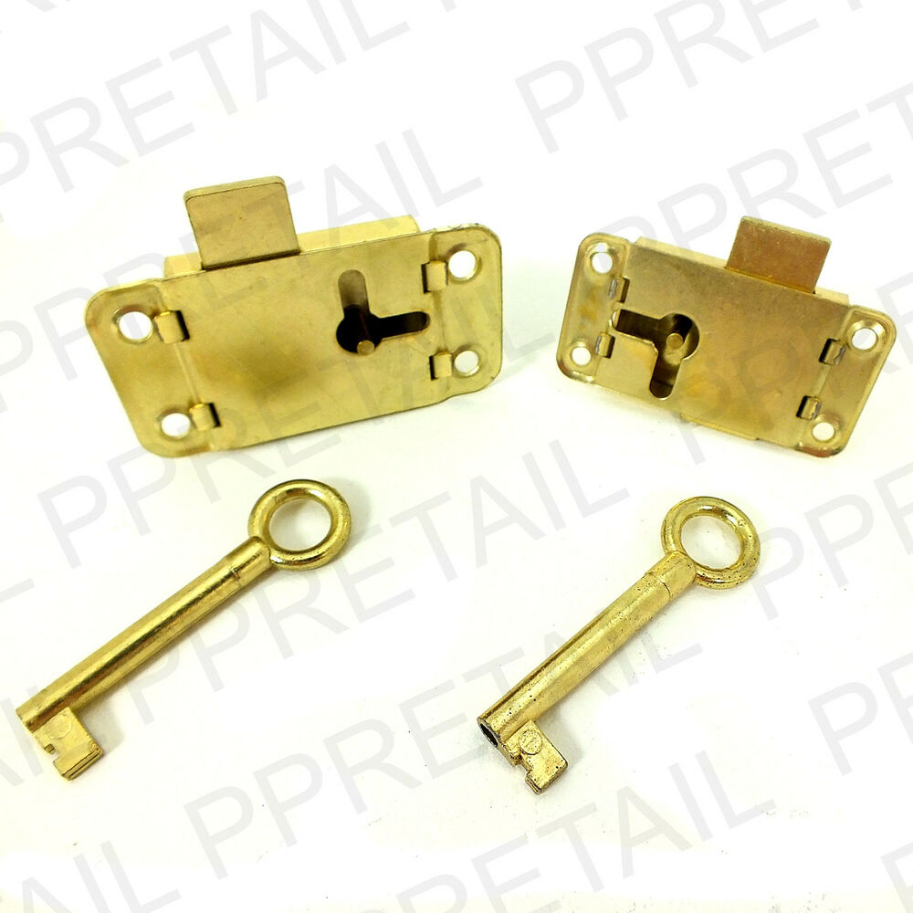 Brass Wardrobe Lock Key 50mm 63mm Cupboard Drawer