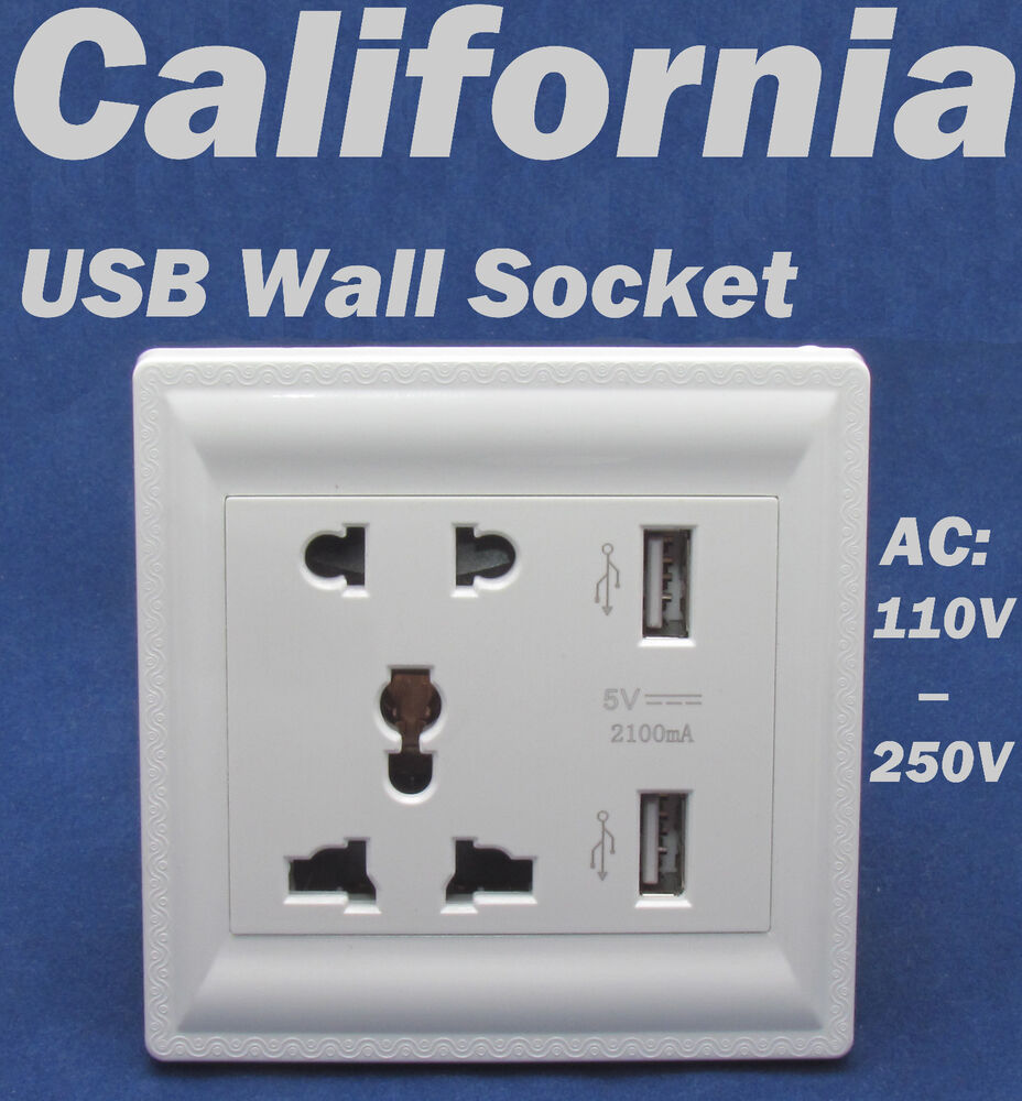 AC 110 To 250 Volt Dock Power Outlet With Dual USB Wall