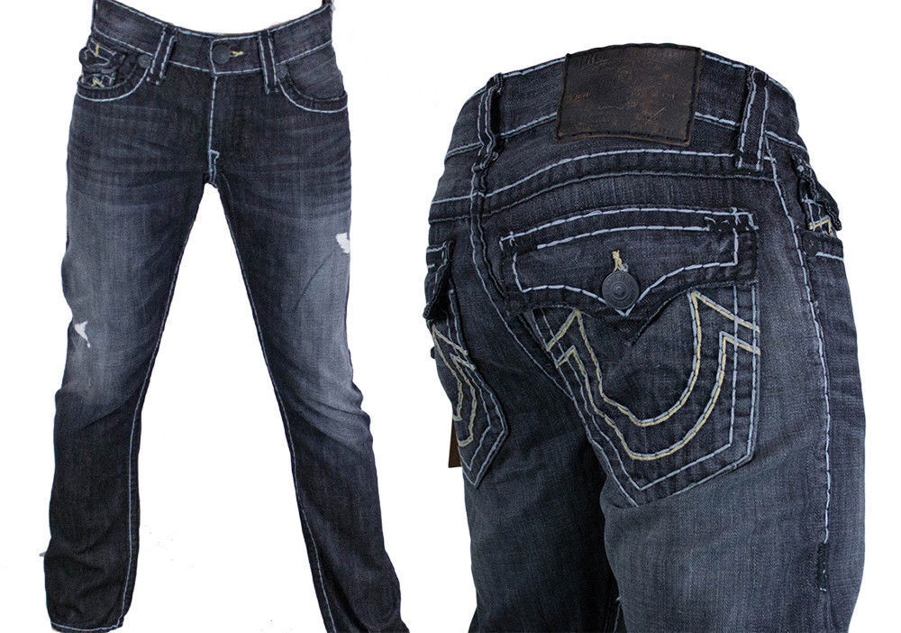 True Religion Jeans Men's Ricky Super T Wolf point Gray ...