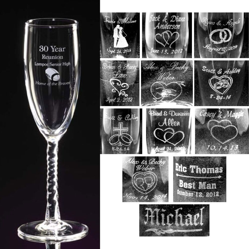 personalized toasting flutes champagne glasses engraved groomsmen