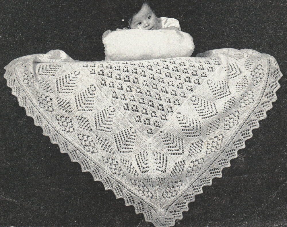 Knitting Pattern For Round Baby Shawl : Two Vintage Shetland Lacy Baby Shawl Patterns ~ 2 ply~ ~ Knitting Pattern eBay