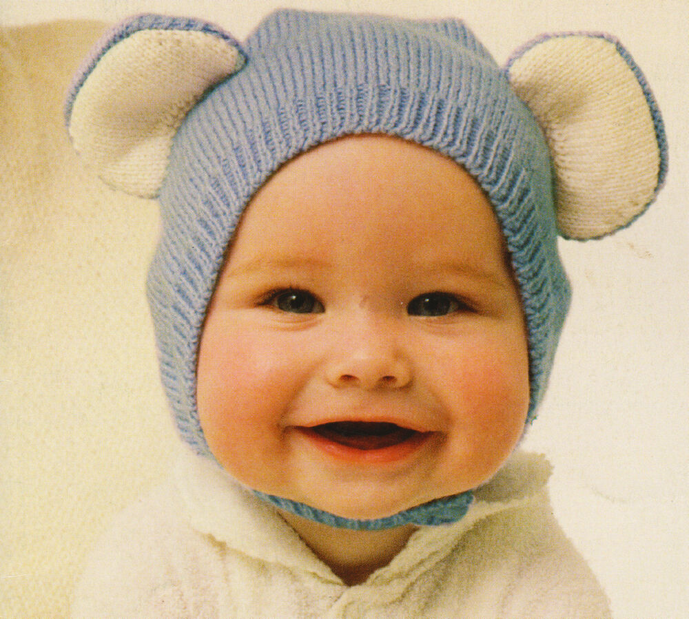 Teddy Bear Ears Baby Hat/Hood/Bonnet ~ 4ply Knitting Pattern ~ 0 -18months ...