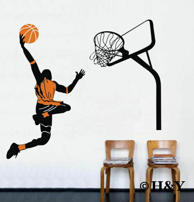 Slam Dunk Basketball Player Removable Wall Art Stickers