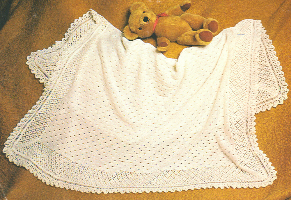 Cherished Baby Shawl Pattern ~ Lacy Texture ~ 2 Ply Knitting Pattern 48