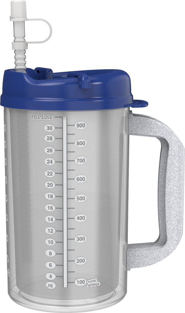 2 32 Oz Insulated Hospital Mugs With Dark Blue Lid Free