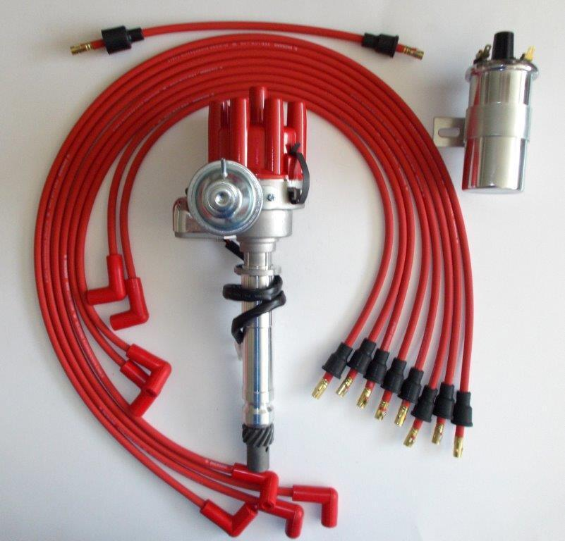 sbc chevy 350 red female small hei distributor 40k coil plug wires under exhaust ebay. Black Bedroom Furniture Sets. Home Design Ideas