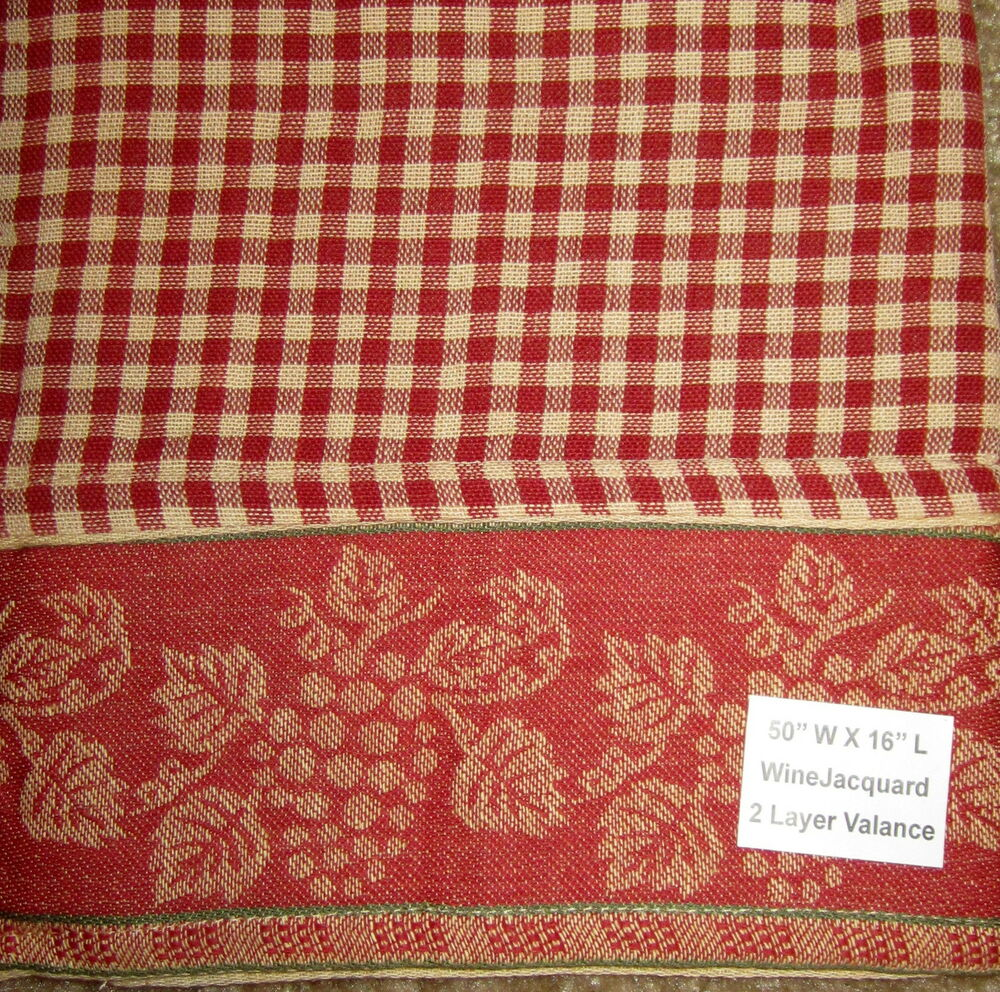 Country Cottage Pine Cone Brick Red Tan Plaid Check Tailored Valance ...