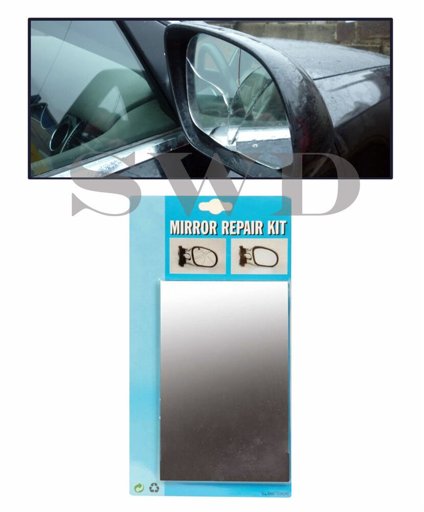 emergency car wing mirror repair kit replacement broken door glass easy fix 8x5 ebay. Black Bedroom Furniture Sets. Home Design Ideas