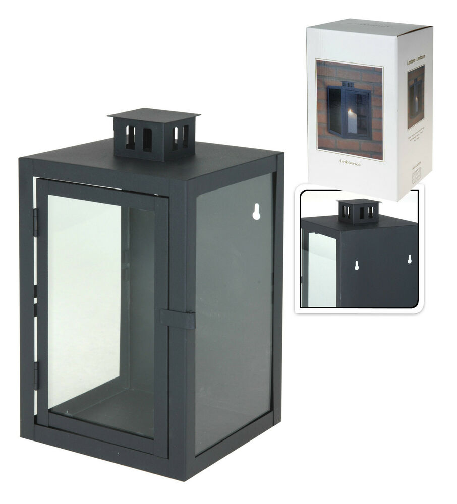 Wall Lantern Indoor : Charcoal Metal & Glass Wall Lantern Indoor Outdoor Candle Tea Light Lantern eBay