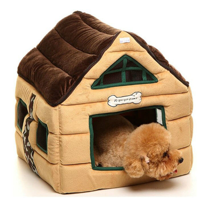 New Chocolate Cute Cozy Deluxe House Beds For Cat Small