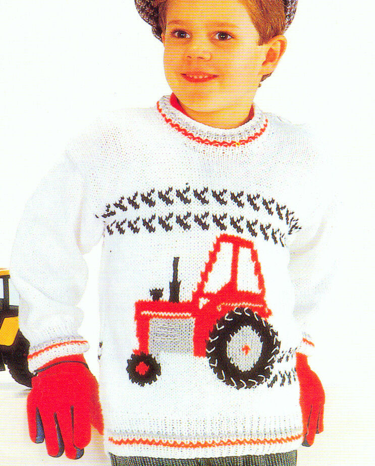 Knitting Pattern With Tractor Motif : Fun Tractor Motif Sweater Baby Children Knitting Pattern DK 22