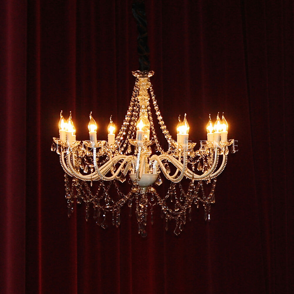 Crystal Chandelier Vs Glass: LARGE CRYSTAL CHANDELIER 12 ARM LIGHT FRENCH PROVINCIAL