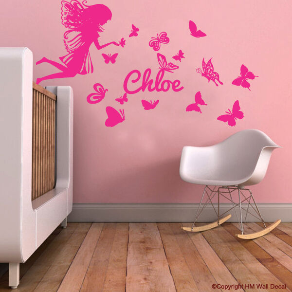 Personalised Name Fairy Butterflies Kids Removable Wall Decal For Girls Room Ebay