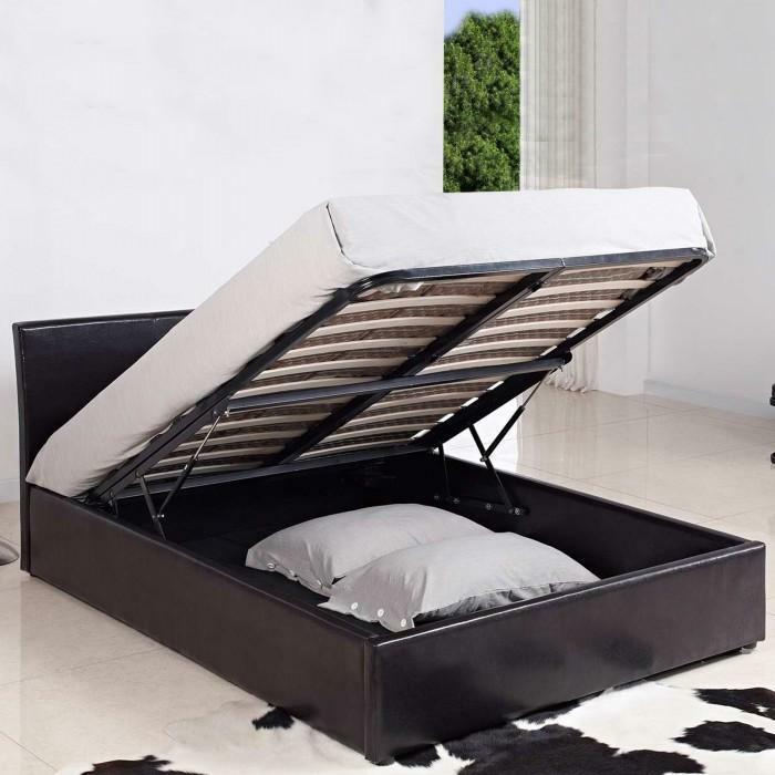 4ft Small Double Leather Ottoman Storage Bed Black Brown