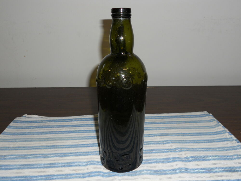 Beautiful antique green glass wine bottle with applied top for Green glass wine bottles